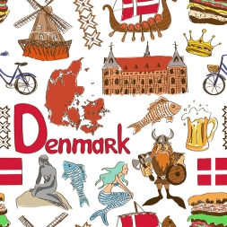 Fun colorful sketch Denmark seamless pattern